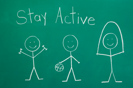 Healthy lifestyle concept. Stick figures staying active or exercising chalk drawing.